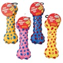 Dog Toy Vinyl Bone With Squeaker 6 Assorted Colors In Pdq #14038