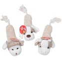 Dog Toy Plush W/rope & Squeaker 16in Long 3 Asst Animals In Pdq #15106