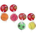 Dog Toy Sports Ball 2.5 Inch Dia 4 Assorted In Pdq Hang Tag #f14001