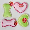 Dog Toy Plush W/squeaker 2 Asst Bone And Heart In Pdq #p30526 2 Colors Green, Pink