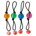 Dog Toy Rope Chew With 3 Inch Tpr Ball 4 Colors In Pdq #gt11148