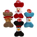 Dog Toy Christmas Plush Bone 8 Inch 4 Assorted In Pdq #p30248