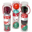 Cat Toy Christmas Balls W/bells 4pc Pvc Tube In Pdq #ct10064