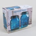 Canister 2pc Set Glass Aqua Embossed 53 Oz, 64 Oz *13.99* Litho Boxed