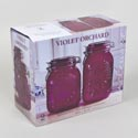 Canister 2pc Set Glass Violet Embossed 53 Oz, 64 Oz *13.99* Litho Boxed