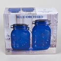 Canister 2pc Set Glass Blue Embossed 53 Oz, 64 Oz *13.99* Litho Boxed