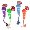 Dog Toy Vinyl Microphone W/rope And Squeaker 4 Asst Colors #s20383