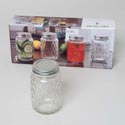 Jar Glass With Silver Lid Set Of 4 17oz Litho Boxed *9.99*