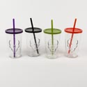 Drinkware 16 Oz Cooler Glass W/ Lid & Straw Embossed Skull Asst Colors Green,purple,black,oran