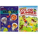 Coloring & Activity Books 2 Asst Color By Number And Dot To Dot In Pdq Made In Usa