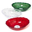 Serving Bowl Oval W/scallop Lip Cutglass Look Red/clr/grn In Pdq 10.5 X 8.25 X 2.75""