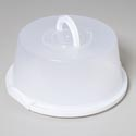 Cake Saver With Locking Lid And Handle -clear Top/white Bottom 13.5d X 6.25h #20036