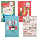 Gift Box 3pk Shirt Christmas 9.5 X 14.75 X 2in 4ast Prints Shrink W/xmas Label