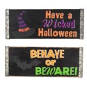 Wall Plaque Halloween Welcome 2 Assorted Wood(4.25)