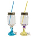 Wine Glass Mason Pedestal W/strw 4 Assorted Colors (7.50)
