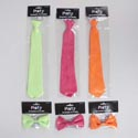 Necktie/bowtie Sequin 3ast Neon Colors Ea W/wrap Around String Party Pbh Orange/pink/green