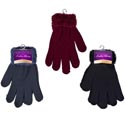Gloves Ladies W/furry Cuff 3ast Colors 42gm/pair 8.5x5in Header Card W/hook