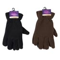 Glove Mens Fleece Adult 10x4.5in 70gm/pair Black/dark Brown Header Card W/hook