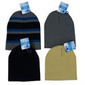 Hat Knit 100% Acrylic 4ast 1 Stripe/3 Solid Colors 53gm Hangtag/jhook