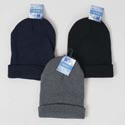 Hat Beanie 100% Acrylic 3ast Colors Black/grey/blue 55gm Hangtag/jhook