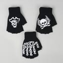 Fingerless Gloves 3ast W/bone/ Skull/pirate Decal Knit/acrylic Winter Hangtag/jhook
