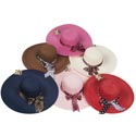 Hat Womens With Large Rim And Pattern Ribbon Detail 6ast Clrs W/strap/ht