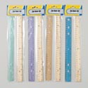 Ruler Set 2pk Plastic/wooden 4asst Colors Plastic Ruler Stationary Pbh