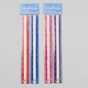 Ruler Wooden 2pk W/color Edges 12in Pink/purple Or Blue/red Gov Pb Header Card