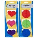 Bag Clip 3pk 2ast Plastic Round Peace Or Heart/stat Card