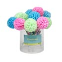 Pen Ruffled Pompom Fabric Top W/ribbon Barrel/24pc Pvc Tube Ballpoint 8.5x2.25in 3ast Color