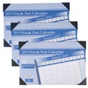 Calendar Desk Pad 2019 11x17 12month 3ast Color/36pc Pdq Ea Individually Polybagged/12sht