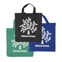 Shopping Bag Reusable Nonwoven 15x14x8in 3ast Colors Choose Green Print/ht