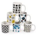 Mug Stoneware 11oz 6assorted Black/white/red Contempo Theme Upc Label