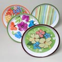 Serving Tray Round 11.75in 4ast Melamine 2012 Hisbisus/poppy/ Citrus/stripe Gov Summer Label