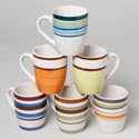 Mug Stoneware 14oz 6asst Handprint Multistripe Colors Upc Label