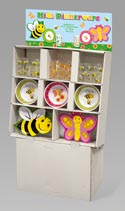 Dinnerware Kids Melamine Diecut Butterfly/bee 144pc Flr Display 48pc Plate/bowl/glitter Cup
