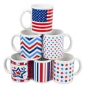 Mug Stoneware Patriotic Designs 11oz 6asst Gov Label