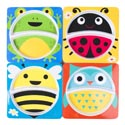Dinnerware Melamine Kids Square Plate 2-section 4ast 24pc Pdq 4 Animals 8.8in/upc Label