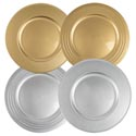Charger 13in Plate Plastic Gold Or Silver 310g W/upc Label 2 Styles/for Decorative Use