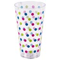 Tumbler Clear W/polk Dot Pattern 18oz/6in H/summer Label 65g/100%ps