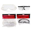 Safety Goggles & Glasses 2 Asst Styles Gov Hardware Poly Bag W/header