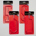 Storage Hooks Vinyl Coated 4ast Styles 1&2 Pks Red Color Gov Logo Skinpack