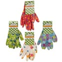 Gloves Garden Ladies Printed Nitrile Coated 4ast Designs Garden Tie-on Card
