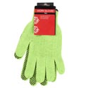 Gloves Hi Visability Green Neon W/black Grip Dots Hardware/hdr 100% Polyester
