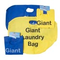 Laundry Bag Giant 20 X 16 Nonwoven W/print Blue Or Yellow Color Cleaning Tie On Card