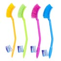 Scrub Brush Long Handled 15in 38cm Plastic 4ast Bright Colors Pink/green/blue/orange Clean Ht