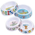 Pet Bowl Melamine 2cat/2dog 7in Dog Bowl/5.5in Cat-4ast Dsgn Upc Label