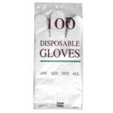 Gloves Disposable 100ct Large Transparent Plastic Peggable Opp Pb Header