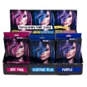 Hair Color Temporary 3ast Colors Blue/red/pink 0.5oz W/comb 36pc Pdq Color Box