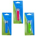 Nail Clipper 3in Metal W/color Grip 3ast 12 Pc Mdsgstrip/hba Blister Blue/pink/green